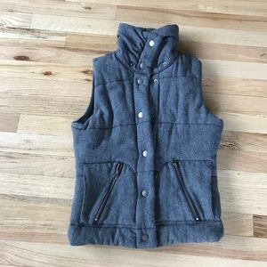 B.B. Dakota Wool Vest Heather Grey Faux Fur Lined